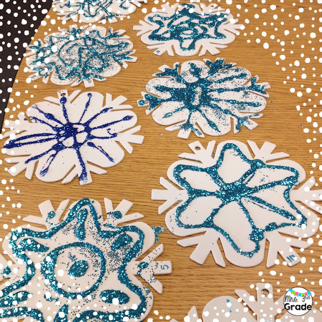 Adding glitter to anything will make a mess, but make everything so much better!  These snowflakes from the Dollar Spot are perfect to spruce up your classroom!