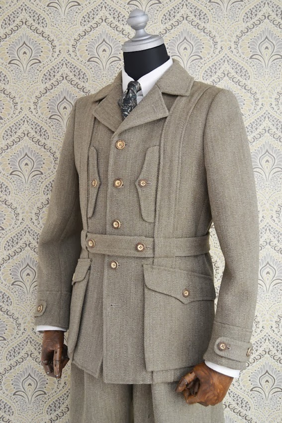 Adjustable Costume Keeper S Tweed Norfolk Jacket