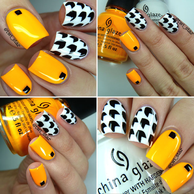 China Glaze Sun Worshiper Neon Black and White nail art