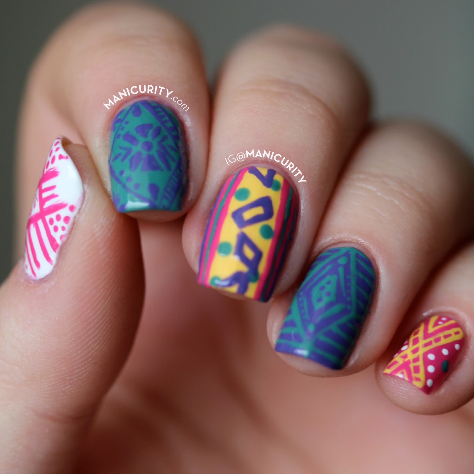 The Digit-al Dozen: Freehand Peruvian Textile-Inspired Nail Art - vibrant skittle set of abstract linework nails | Manicurity.com