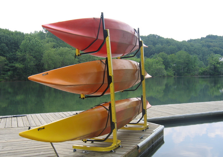 freestanding canoe rack for three boats