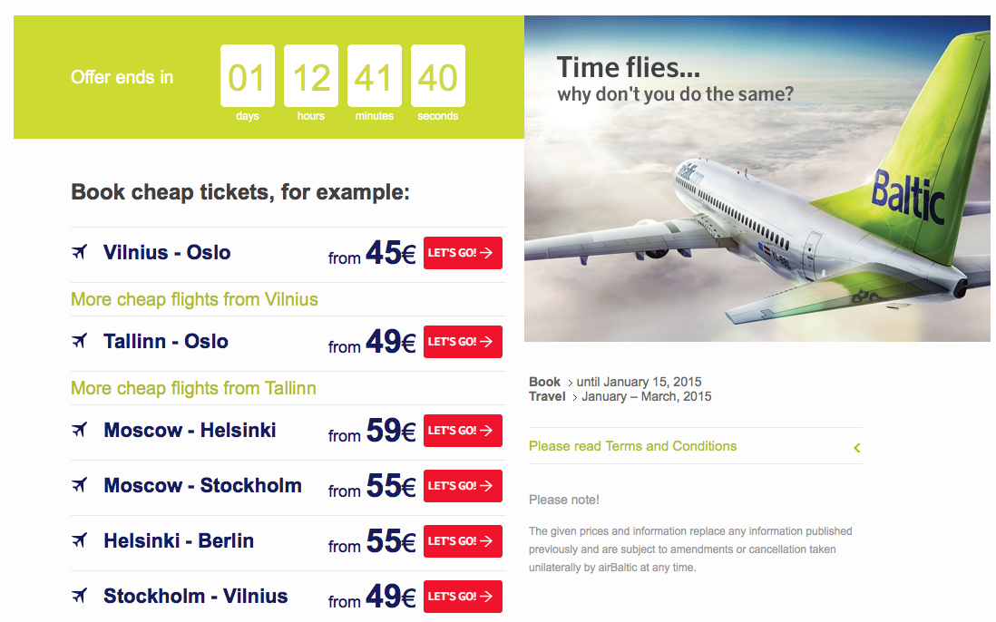 airBaltic has flights across Europe on sale. Fares start as low as