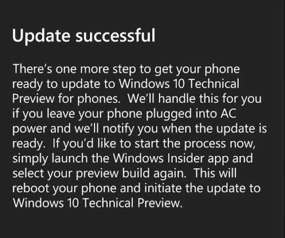 Windows 10 phone preview update successful