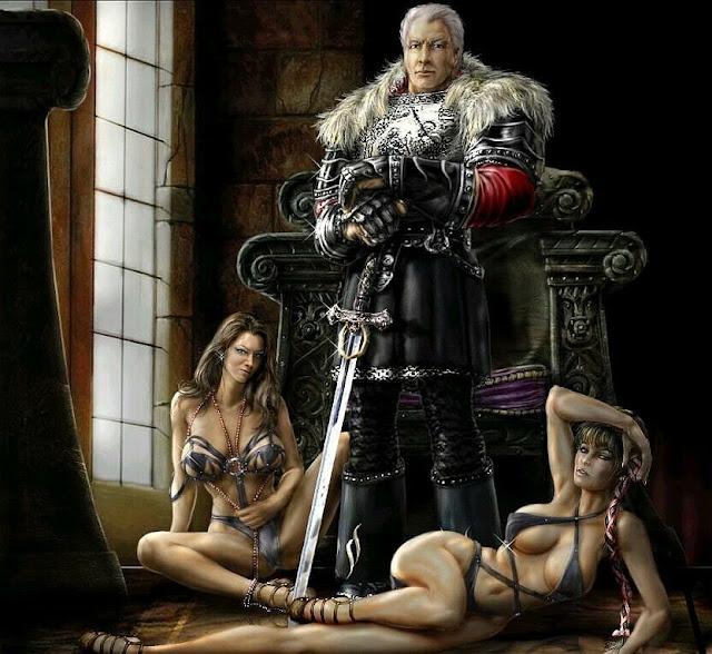 Duas mulher e homem no trono