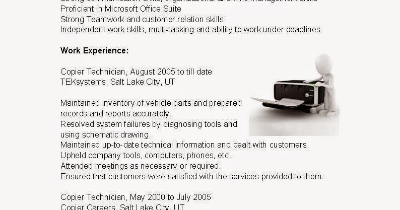 resume samples  copier technician resume sample