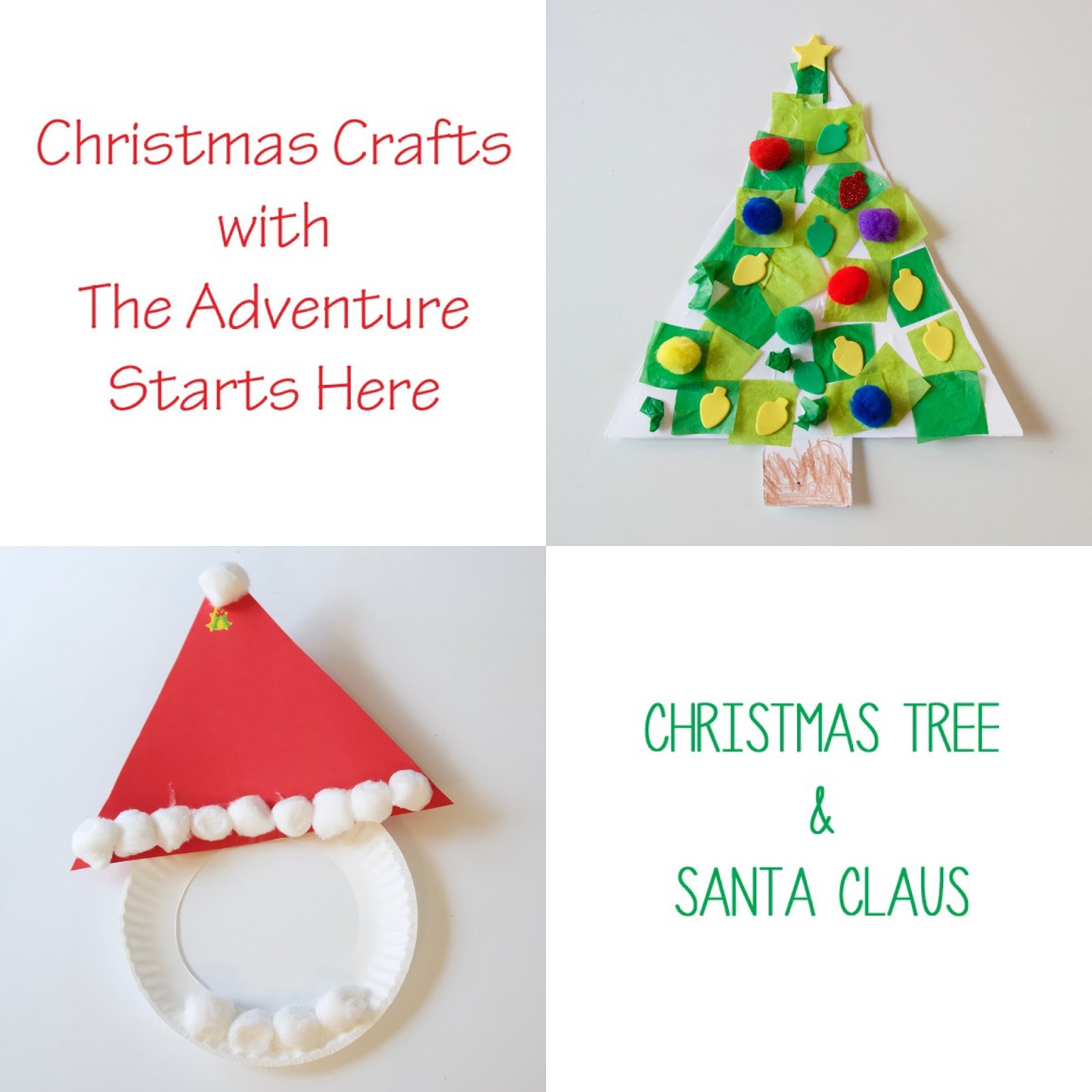 the adventure starts here christmas crafts christmas tree and santa