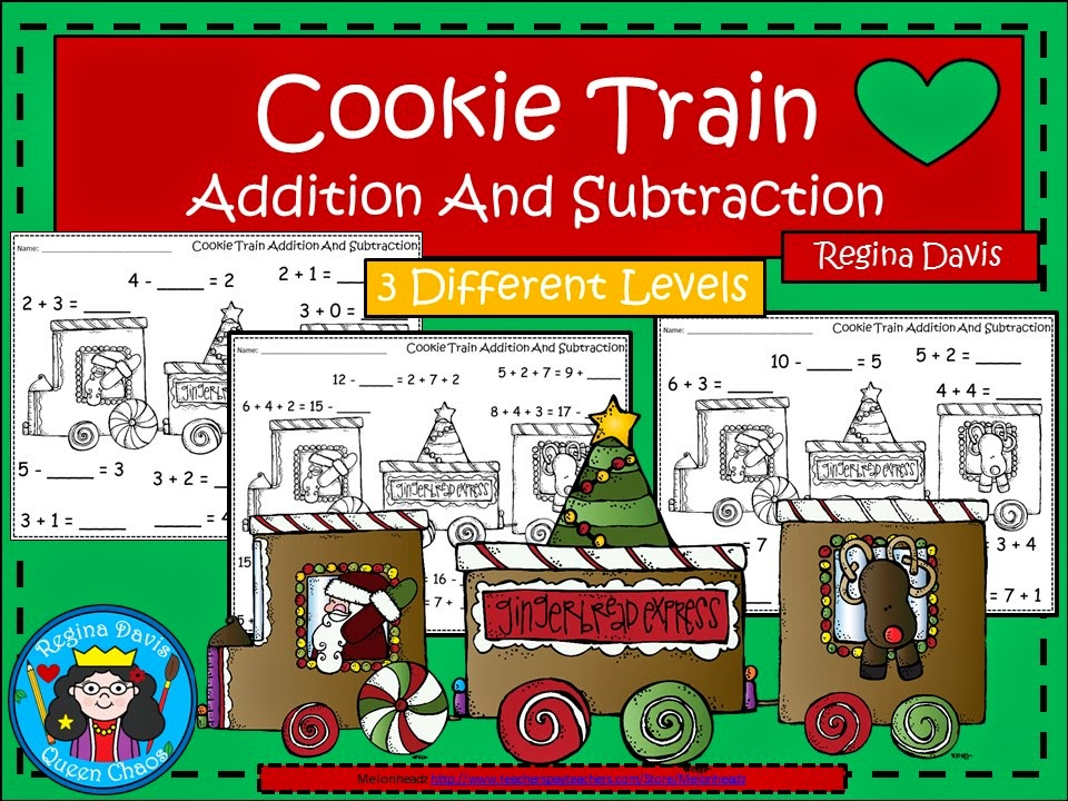 http://www.teacherspayteachers.com/Product/A-Christmas-Cookie-Train-Addition-and-Subtraction-Differentiated-Practice-1597863