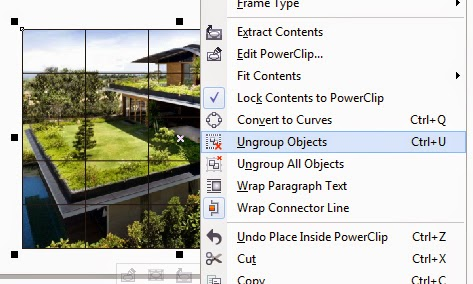 Ungroup Objek graph Paper di CorelDraw
