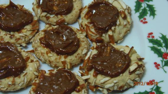 Salted Caramel Pretzel Thumbprint Cookies