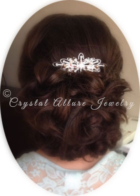 Lauren wearing her Custom Bridal Crystal Allure Starburst Hair Comb