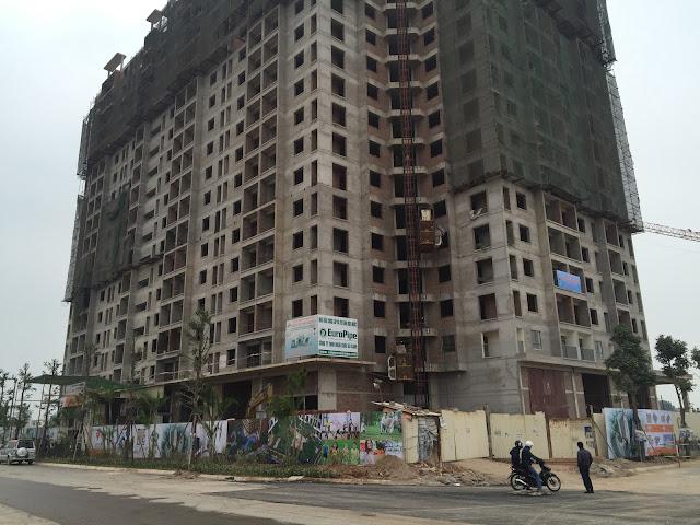 Phối cảnh thực tế tòa 18T1 chung cư Golden An Khánh
