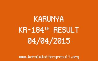 Karunya KR 184 Lottery Result 4-4-2015