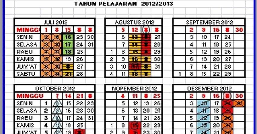 Kalender Pendidikan Propinsi Sumatera Selatan 2012 2013