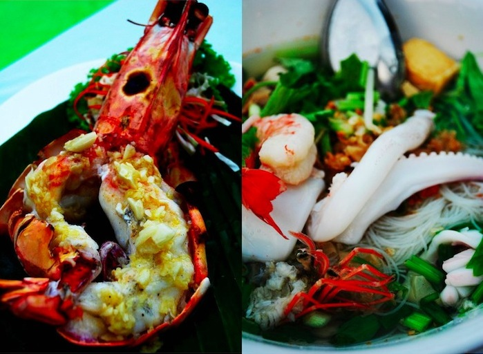 butter garlic prawns and seafood noodle dish