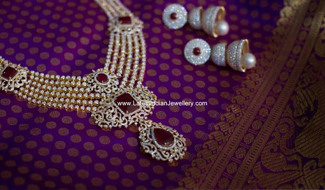 Diamond Bridal Necklace Step Jhumkas