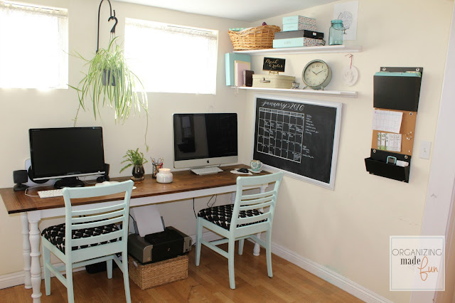 Adorable, Organized Home Office in a Small Rental Home :: OrganizingMadeFun.com
