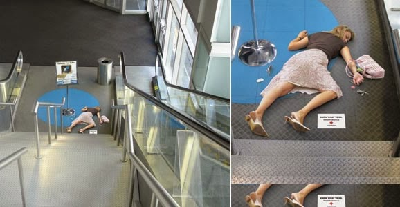 Red Cross Ads on escalators
