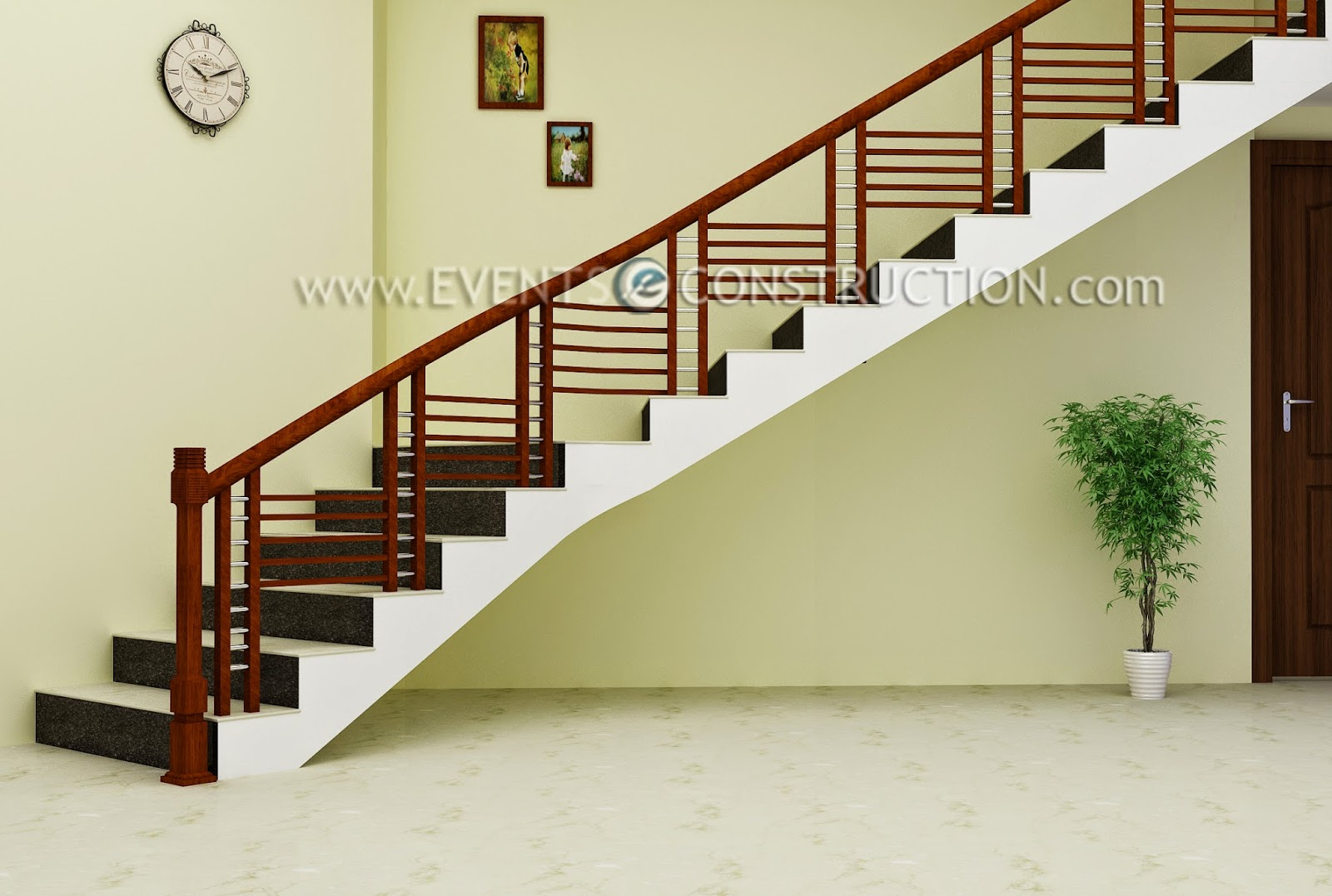 Evens construction pvt ltd simple wooden staircase design - Staircase designs ...