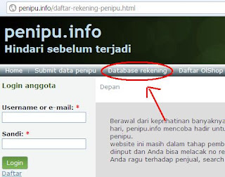 Database Rekening Penipu Online