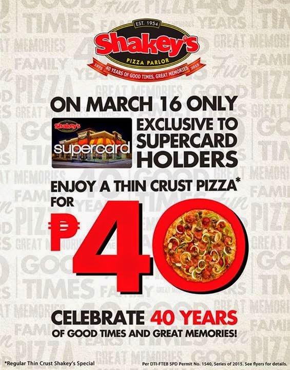 Shakey's Php40, Shakey's Pizza promo, Shakeys Supercard