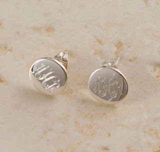 monogrammed silver earrings