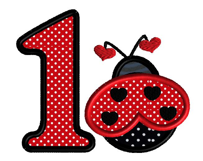 lady bug one machine embroidery design for 1 year old
