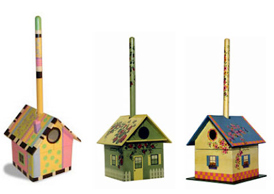 birdhouse-shaped boxes store a plunger