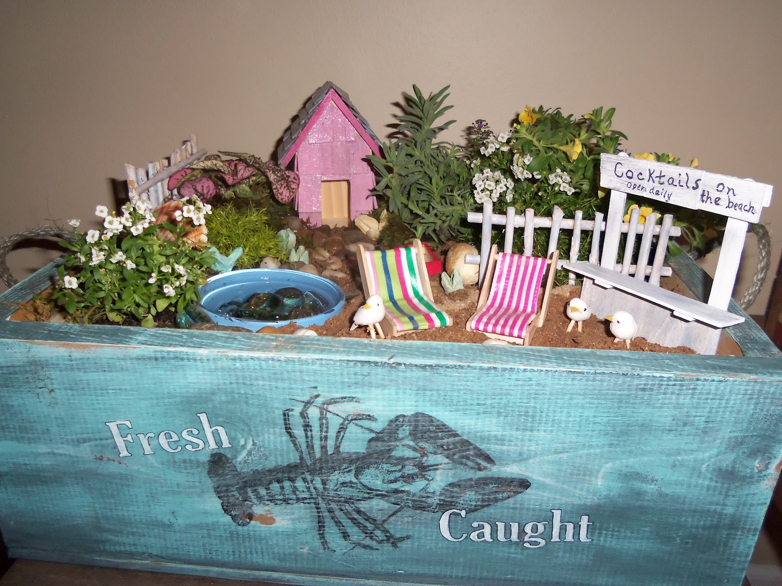 Beau While Mr. Rainbow Creek Was Crafting This Awesome Crate For The Beach Garden  I Built Some Miniature Beach Decor From Craft Sticks, Bamboo Skewers And  Wood ...