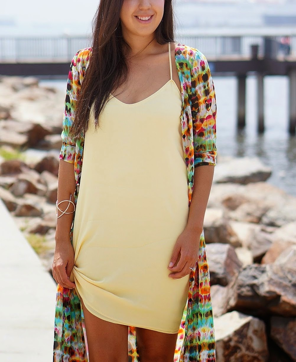 Yellow summer dress, Shoedazzle shoes, Tie Dye Cardigan