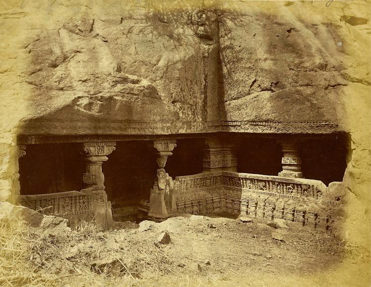 Verandah and Entrance to Sringar Chauri Temple at Patan, Khandesh District, Maharashtra - c1885
