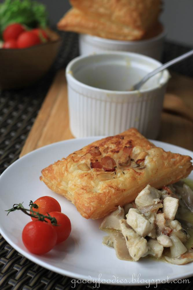 GoodyFoodies: Recipe: Chicken, mushroom and bacon pie (Nigella Lawson)