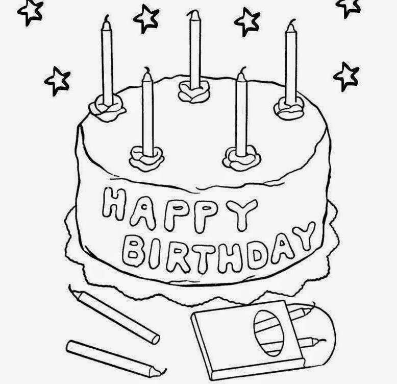 Happy Birthday Cake For Kid Coloring Drawing Free wallpaper