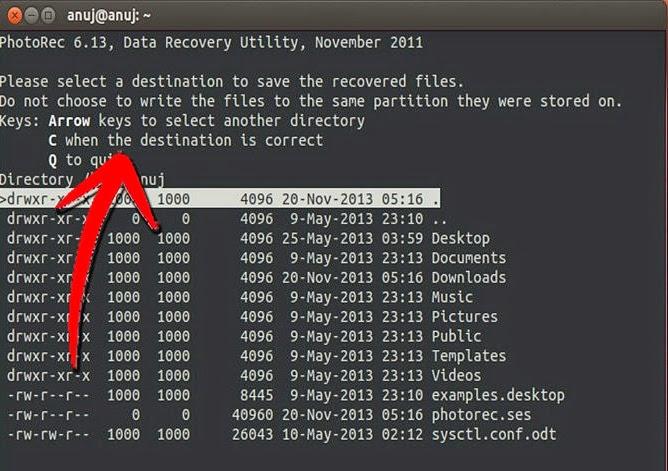 pilih lokasi meletakan file yang telah di recovery