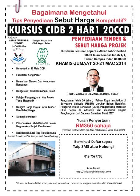 Kursus CIDB 2 Hari 20 CCD Penyediaan Tender & Sebut Harga Projek