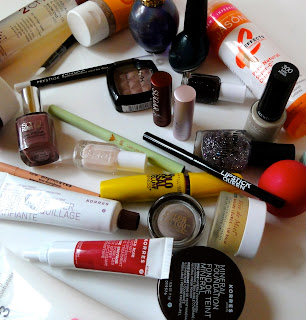 Nuxe, EOS, Lipstick Queen, Essie, Nicole by OPI, Prestige, F21