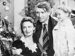 The Baileys at the Christmas tree Its a Wonderful Life 1946 movieloversreviews.blogspot.com