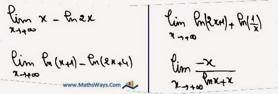 تمرين حول حساب نهايات دوال لوغاريتمية باشكال غير محددة