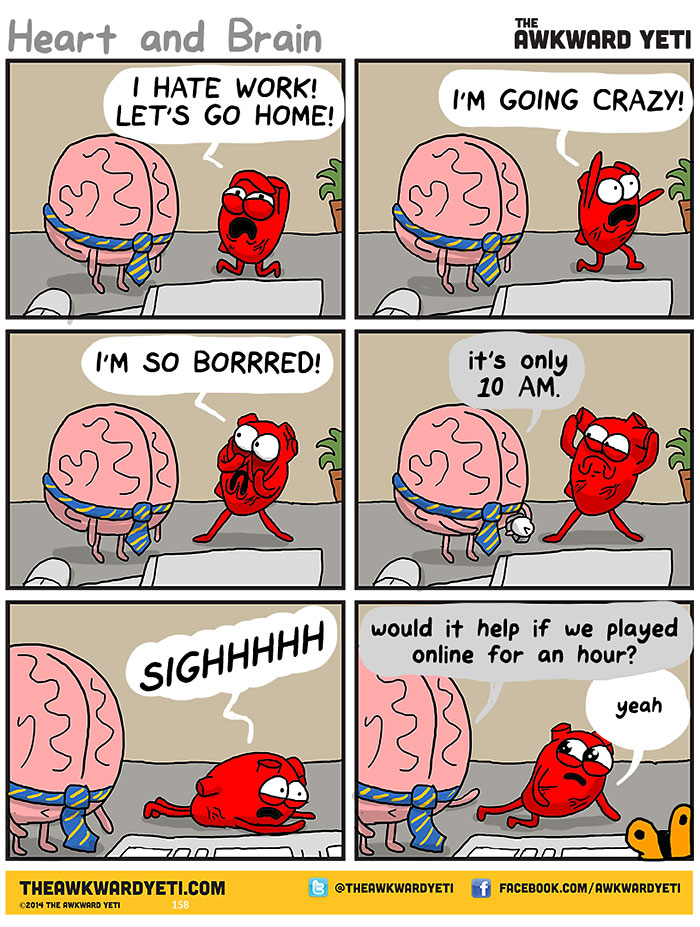 This Hilarious Comic Illustrates The Continuous Fight Between Our Heart And Our Brain