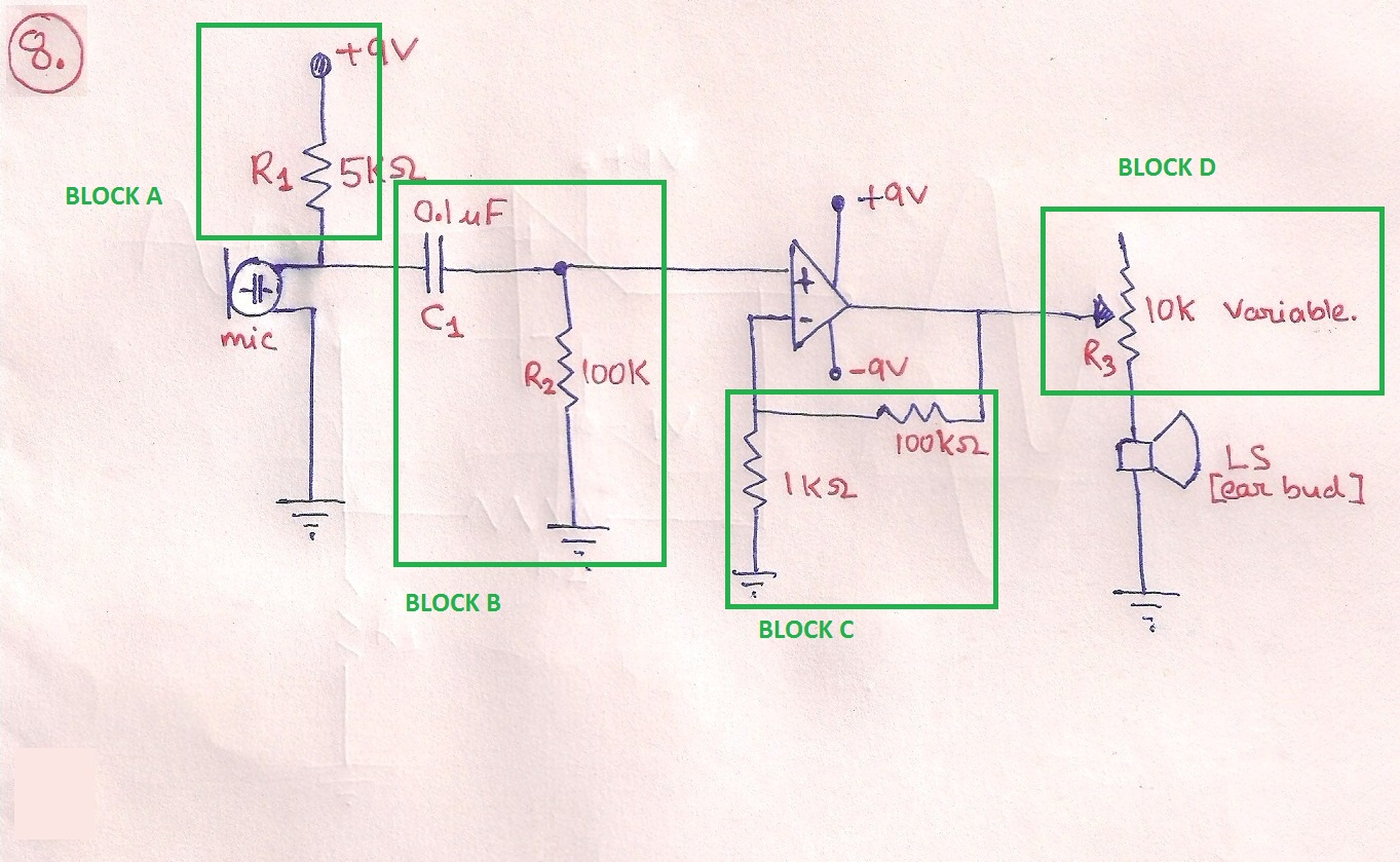 Electronics Engineering For Gate And Ies Basic Op Block Diagram Inverting Amplifier A Use 9v Supply To Power Up The Mic R1 Limit Current