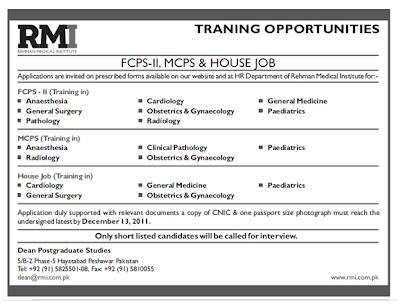 Job Rehman Medical Institute ar Www.rmi.com.pk