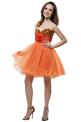 Sassy Prom Dresses! Orange Strapless Cocktail Dress