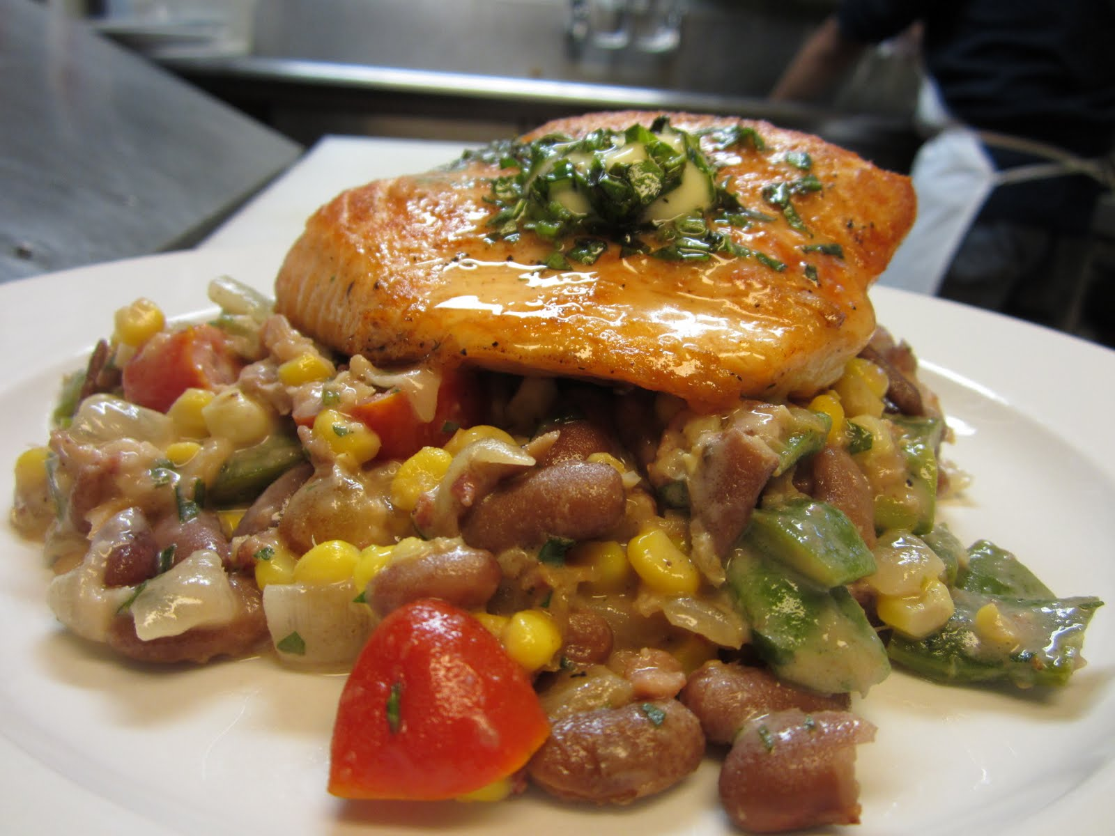 Wild King Salmon with Succotash and Basil Butter