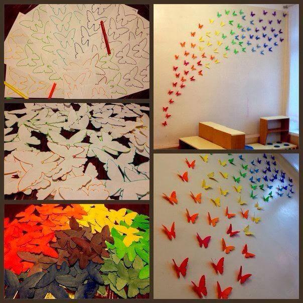 Revista padres como hacer un mural de mariposas for Como decorar un mural