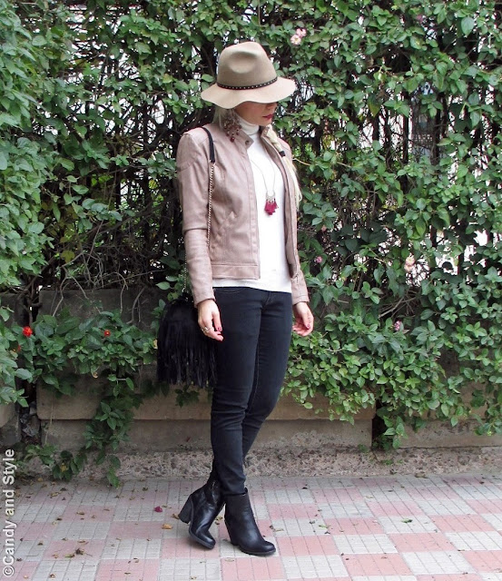 FeltFedora+TurtleneckSweater+BlackJeans+AnkleBoots+FringedBag+LongBraid+BurgundyLips - Lilli Candy and Style Fashion Blog