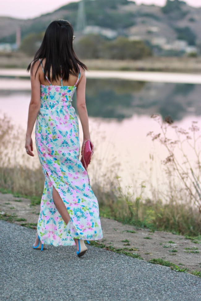 silk maxi dress floral print summer spring trend