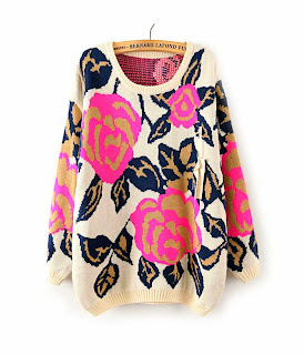 http://www.aupie.com/ladies-new-arrivals-round-neck-rose-red-big-flowers-print-knitting-pullover.html