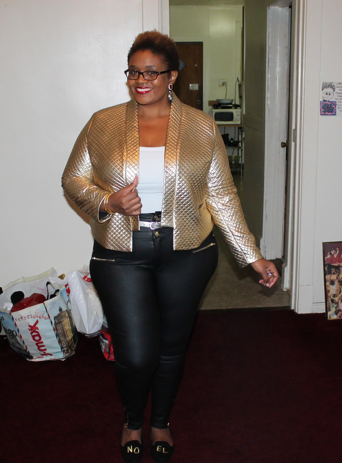 What I Wore} Quilted Gold   Liquid Leather Jeans | Curvatude ...