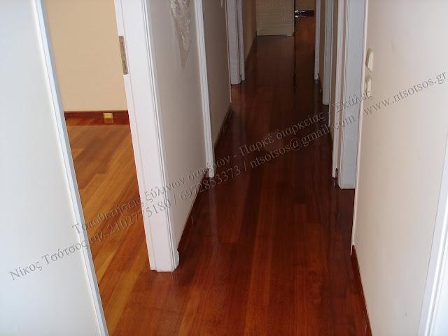 Συντήρηση και γυάλισμα ξύλινου δαπέδου και σκάλας Merbau