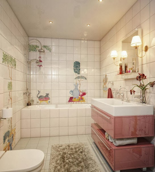 To da loos: Adorable painted tile bathroom