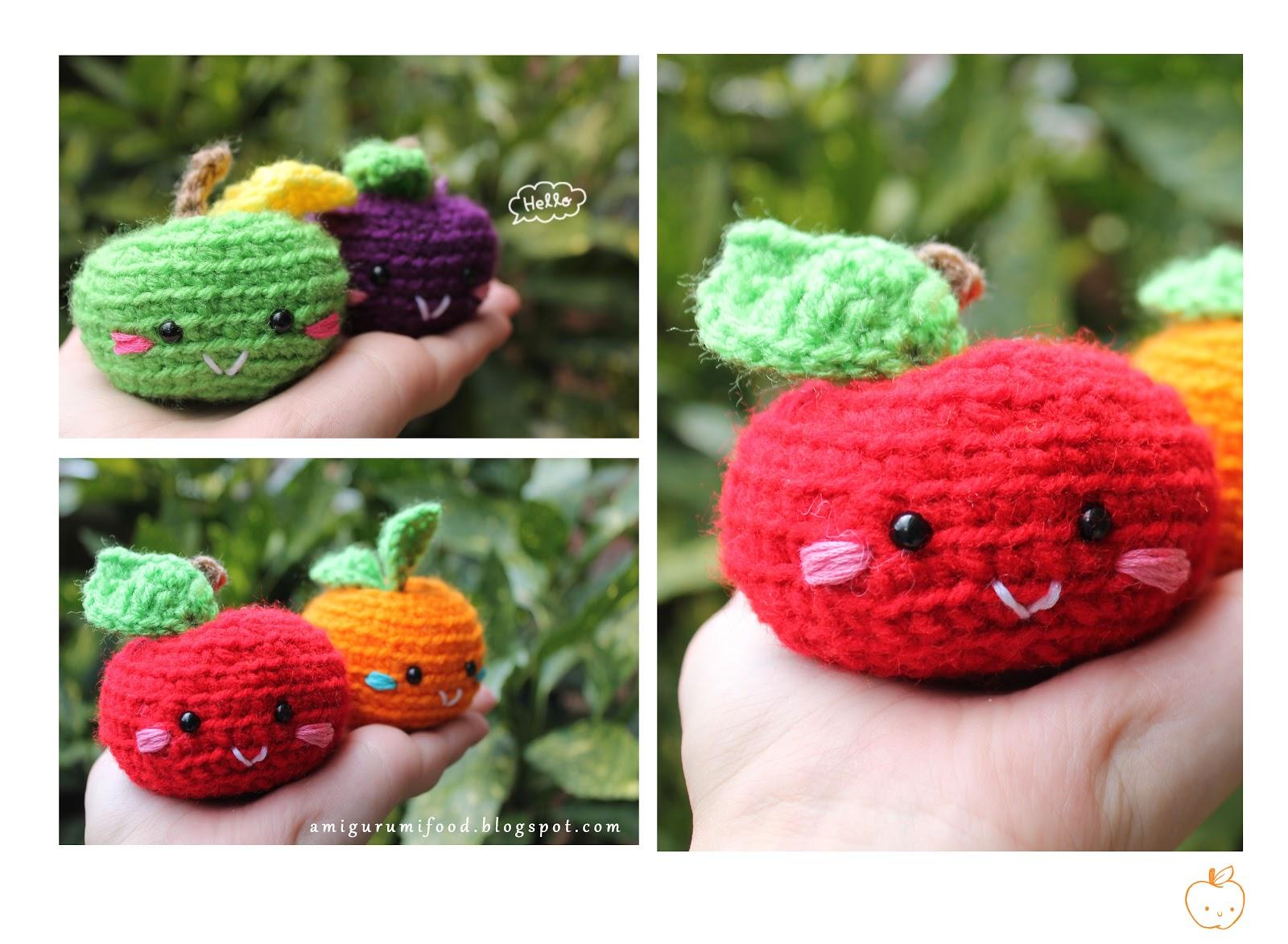 Amigurumi Harry Potter Free Pattern : Amigurumi Food: Amigurumi Manzana, Purple plum y Mandarina ...